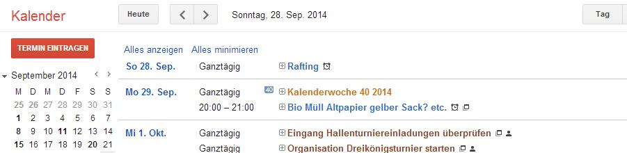 Google Kalender Terminorganisation